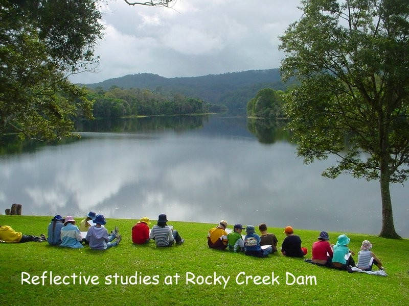 students at Rocky Creek Dam